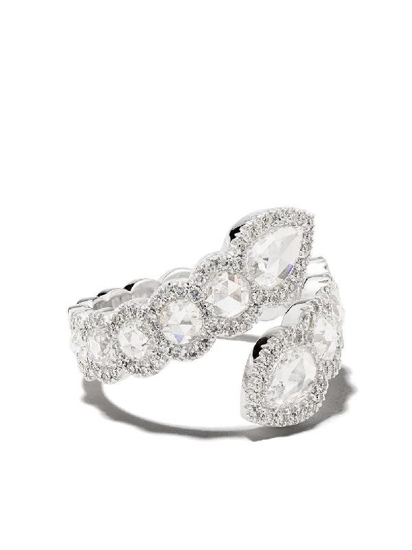 David Morris 18kt White Gold Rose Cut Toi Et Moi Pearshape And Round Diamond Ring