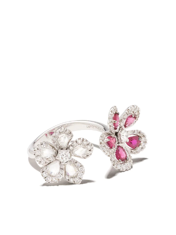 David Morris 18kt White Gold Miss Daisy Double Flower Ruby And Diamond Ring
