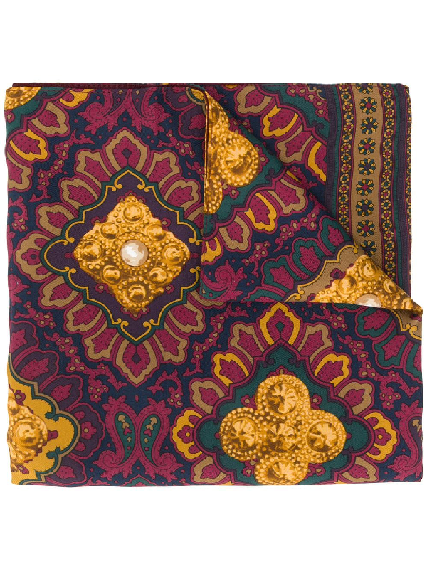 Chanel 1990s Jewels Print Scarf In Red