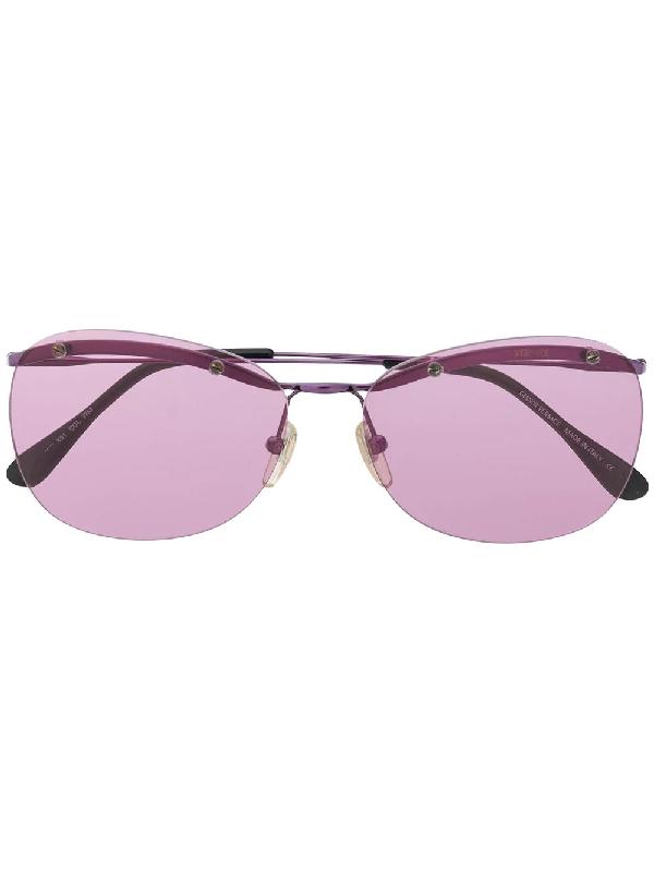 Versace 2000s Sonnenbrille Mit Ovalem Gestell In Purple