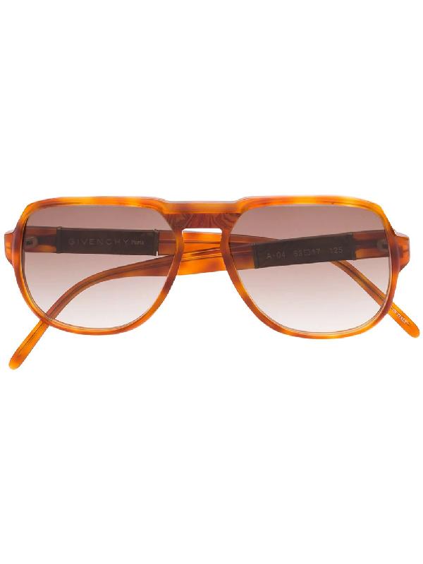 Givenchy 1980s Tortoiseshell Pilot-frame Sunglasses In Orange