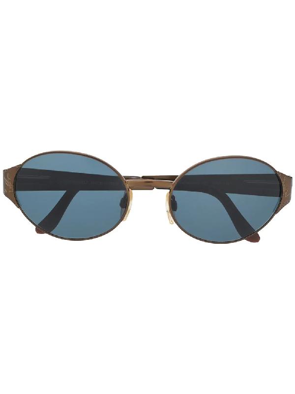 Saint Laurent 2000s Logo-embossed Oval-frame Sunglasses In Black