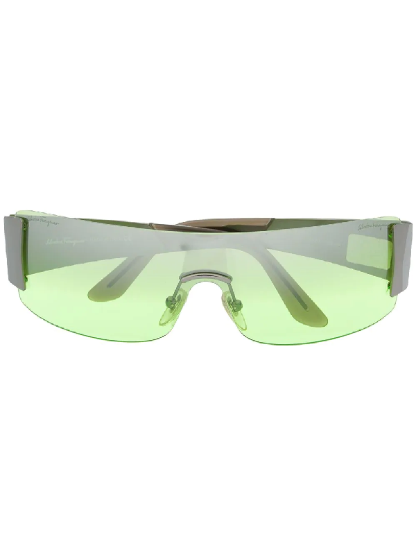 Salvatore Ferragamo 2000s Rectangular-frame Rimless Sunglasses In Green
