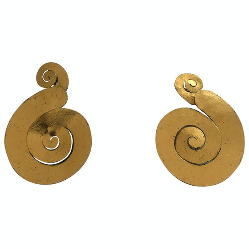 Monies Anthracite Gold Plated Earrings