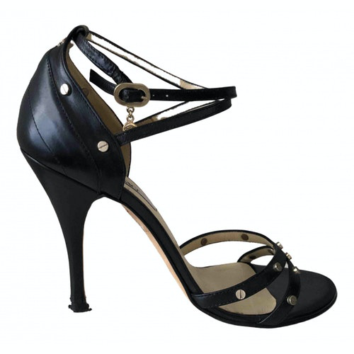 Versace Black Leather Sandals