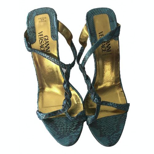 Versace Blue Python Sandals