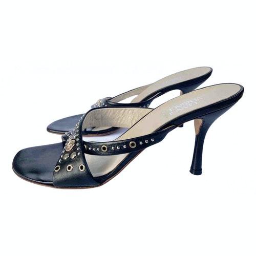 Versace Black Leather Mules & Clogs