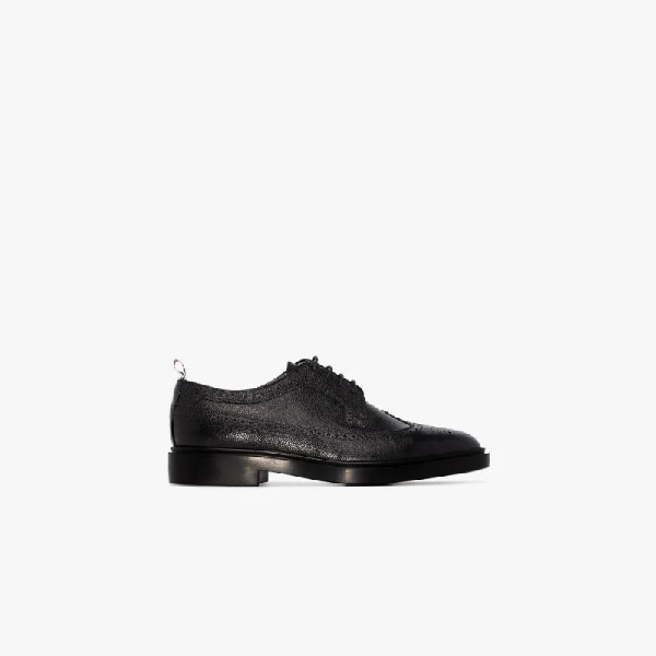 Thom Browne Classic Longwing Brogue With Leather Sole In 001 Black