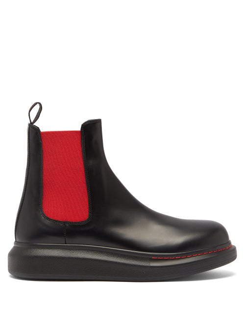Alexander Mcqueen Exaggerated-sole Leather Chelsea Boots In Black