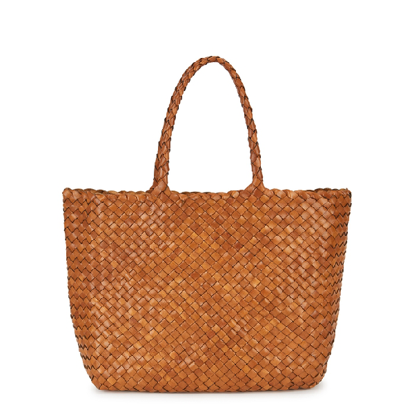Dragon Diffusion Lunch Brown Leather Tote In Tan