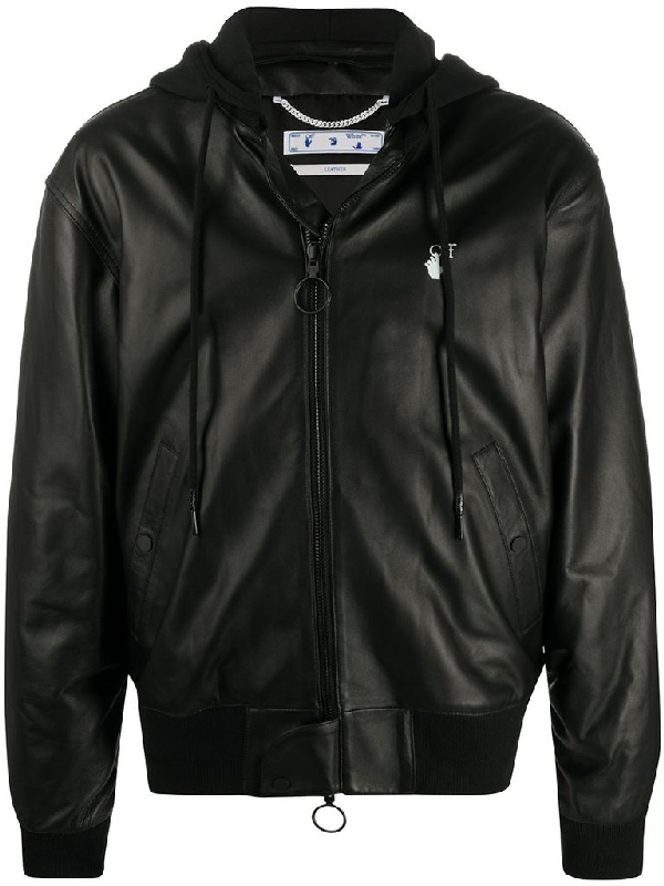Off-white Black Leather Jacket Featuring Hood