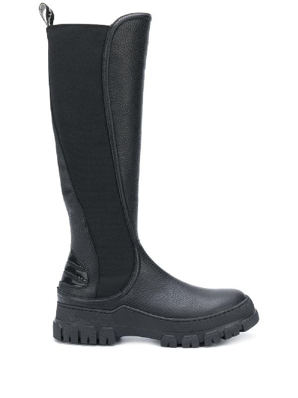 Pollini Slip-on Knee-high Boots In Black