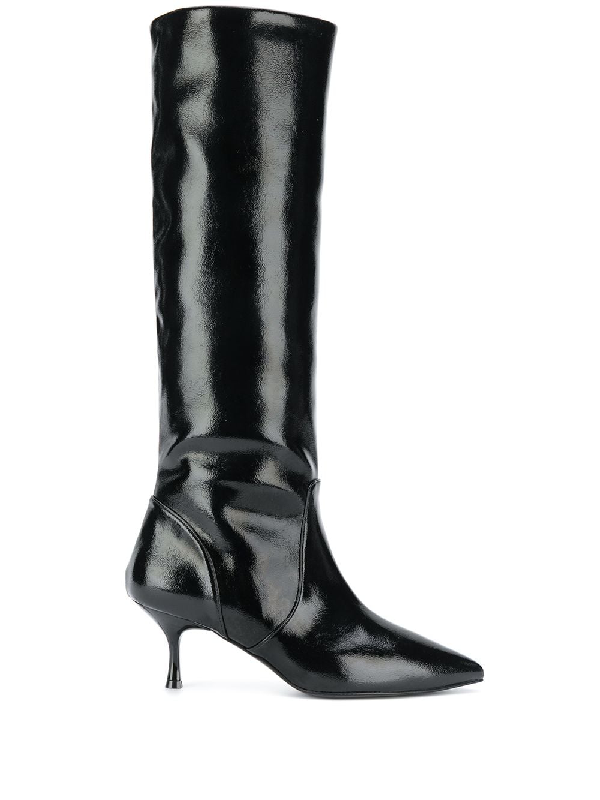 Pollini Pointed Knee-length Boots In Black
