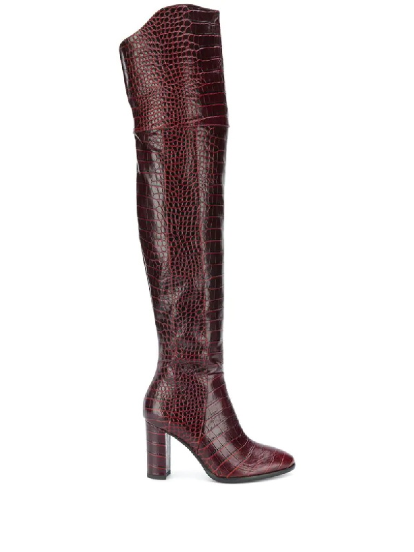 Pollini Crocodile-effect Over-the-knee Boots In Red