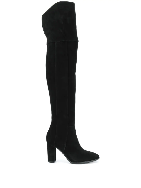 Pollini Round-toe Over-the-knee Boots In Black