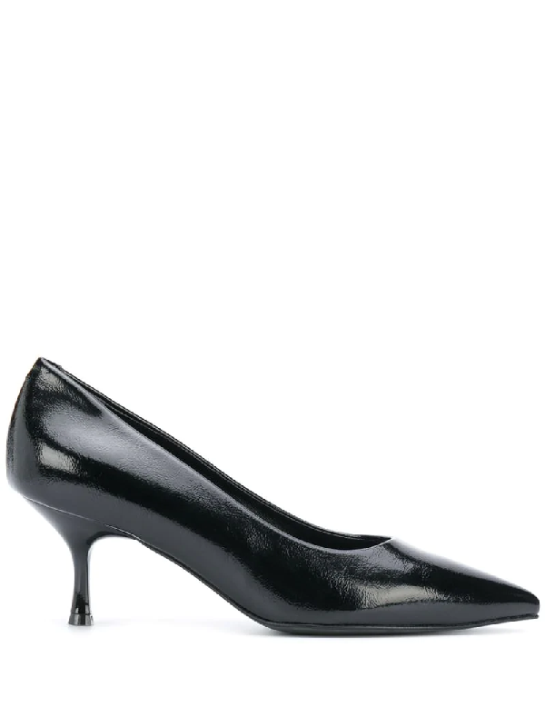 Pollini Patent-effect Pointed Pumps In Black