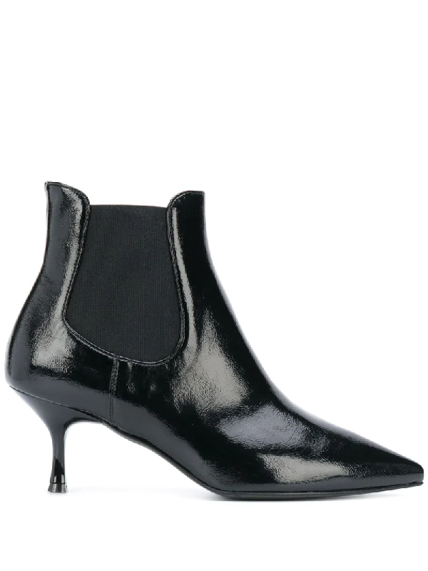 Pollini Patent-effect Slip-on Boots In Black
