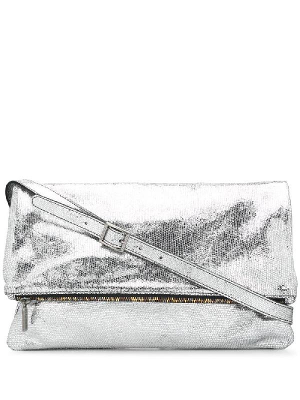 Numero 10 Durban Metallic Satchel Bag In Silver