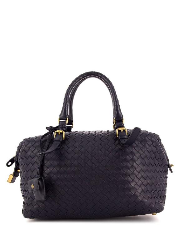 Bottega Veneta Intrecciato Handbag In Black
