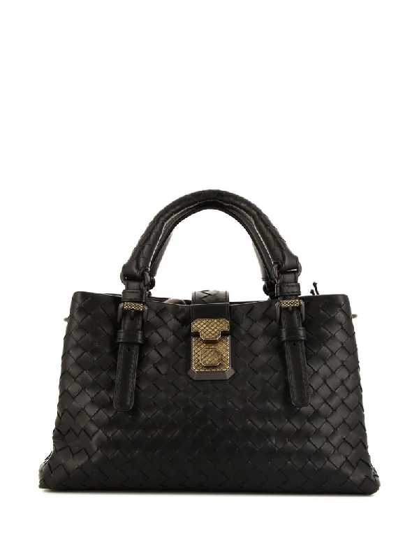 Bottega Veneta Mini Roma Tote In Black