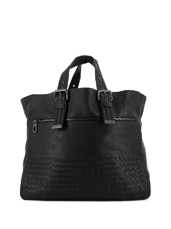 Bottega Veneta Intrecciato Weave Tote Bag In Black