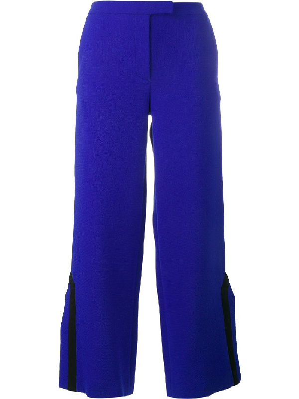 Osman Contrast Trim Side Slit Trousers In Blue