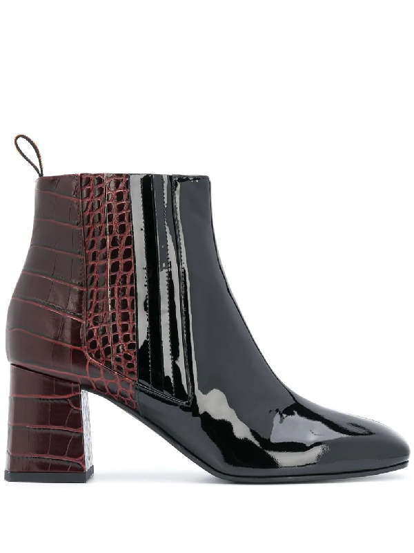 Pollini Two-tone Ankle Boots In Black