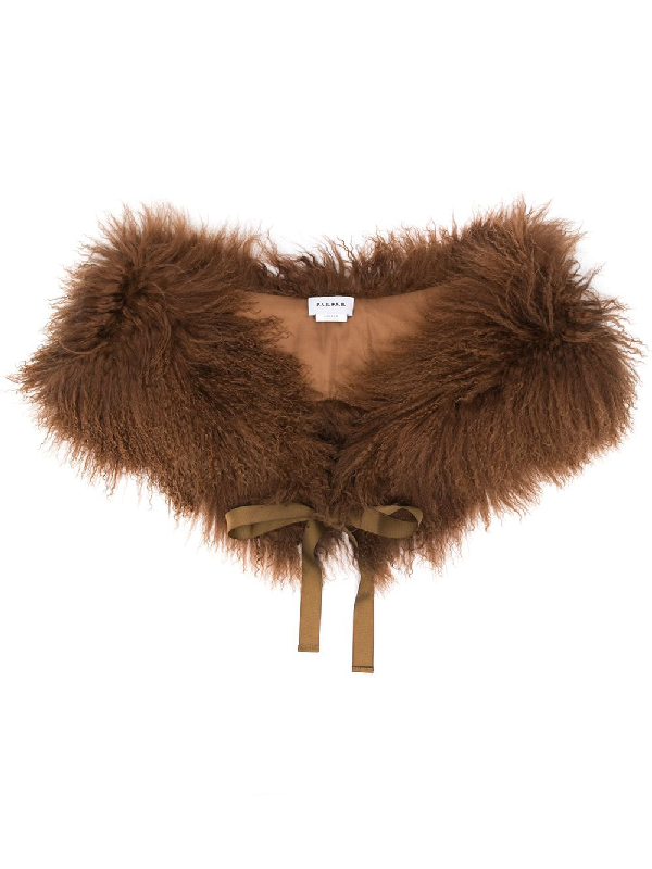 P.a.r.o.s.h. Shearling Ribbon Tie Scarf In Brown