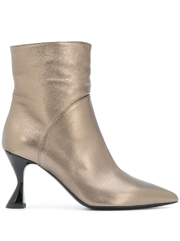 Pollini Metallic Ankle Booties In Gold