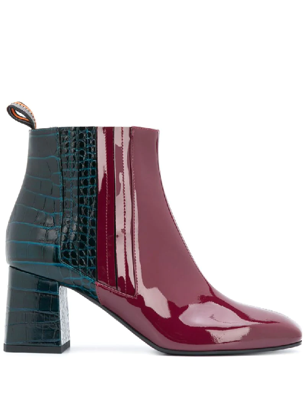 Pollini Two-tone Ankle Boots In Red