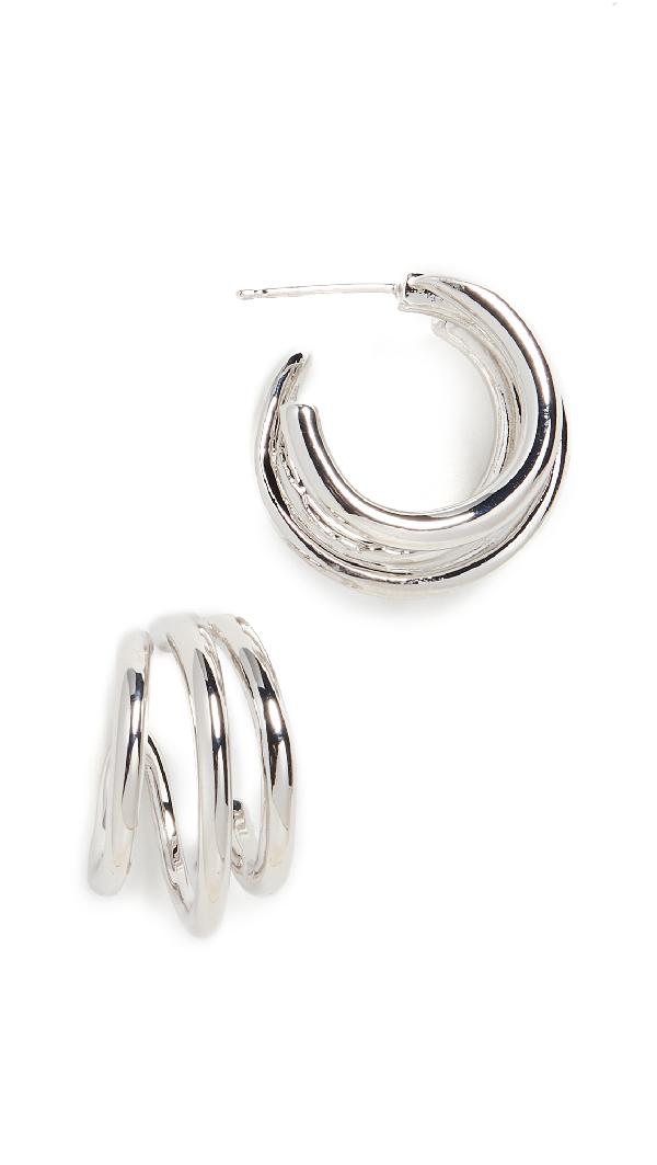 Theia Jewelry Quinn Orbit Half Hoop Earrings In White Gold