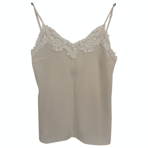 Les Coyotes De Paris Beige Silk  Top