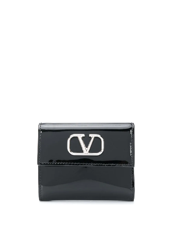 Valentino Garavani Vsling Patent Leather Wallet In Black