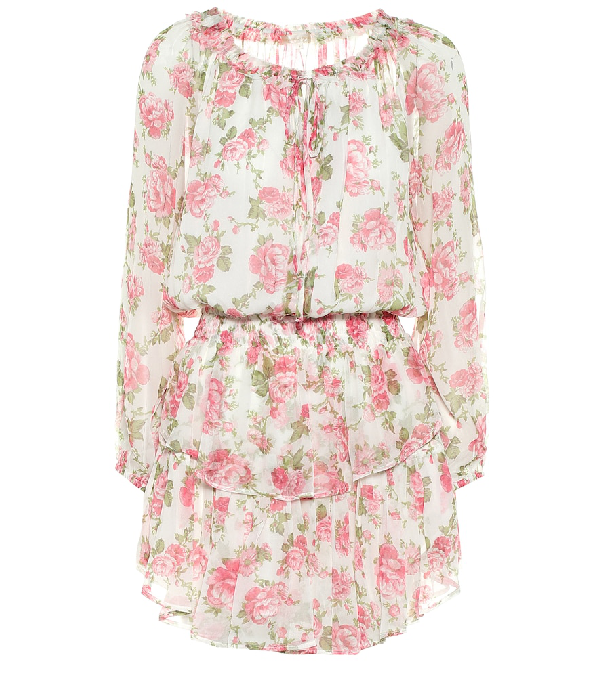 Loveshackfancy Floral Print Popover Long Sleeve Silk Minidress In Pink