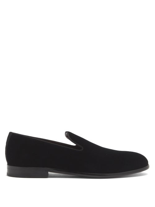 Dolce & Gabbana Velvet Loafers With Leather Sole In Black