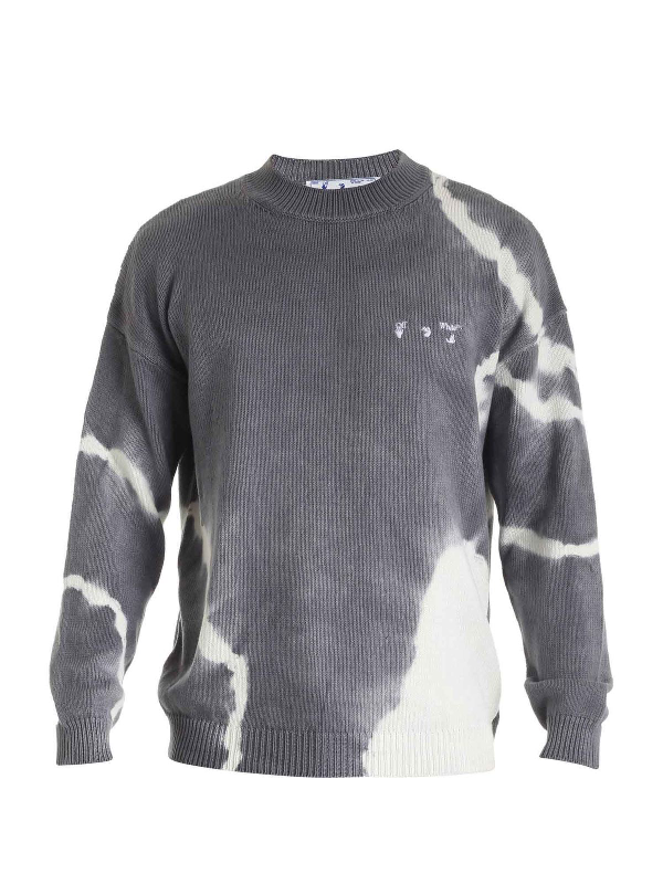 Off-white Tie Dye Pullover Grey And White