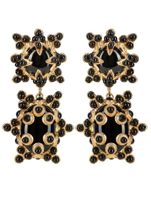 Christie Nicolaides Lucia Earrings Gold & Black