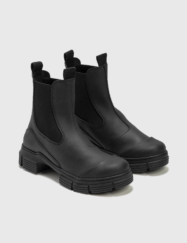 Ganni Chunky Recycled-rubber Chelsea Boots In Black