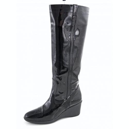 Salvatore Ferragamo Black Patent Leather Boots