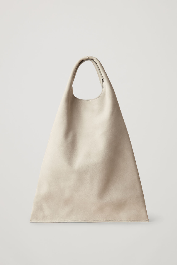 Cos Leather Deconstructed Shopper Bag In Grey