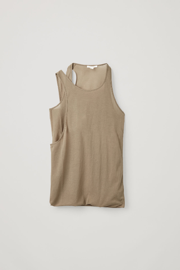 Cos Organic Cotton Double Strap Vest In Brown