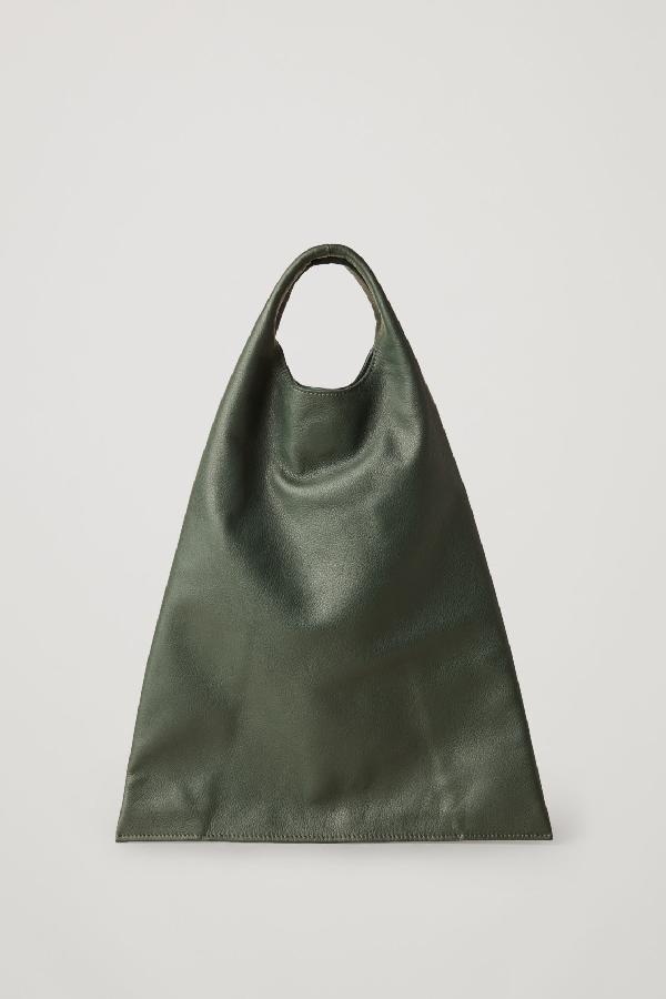 Cos Leather Deconstructed Shopper Bag In Green