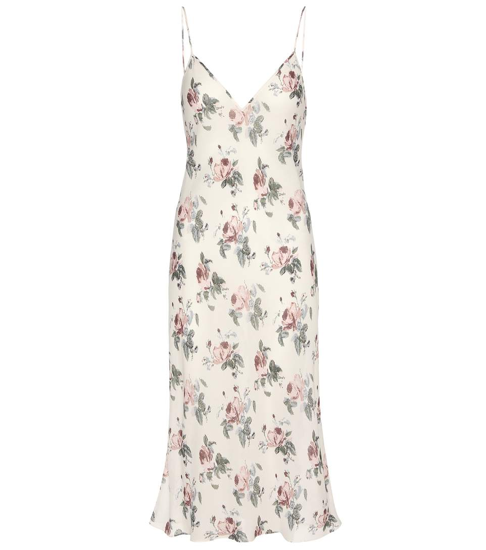 ff8230007f4 Saint Laurent Mid-Length Lingerie Dress In White And Pink Grunge Rose  Viscose CrÊPe In