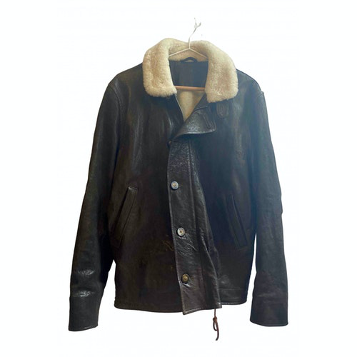 Ymc You Must Create Brown Leather Coat