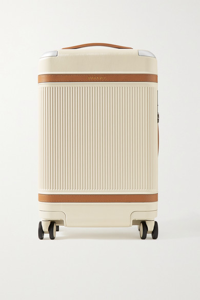Paravel Aviator Faux Leather-trimmed Hardshell Suitcase In Beige
