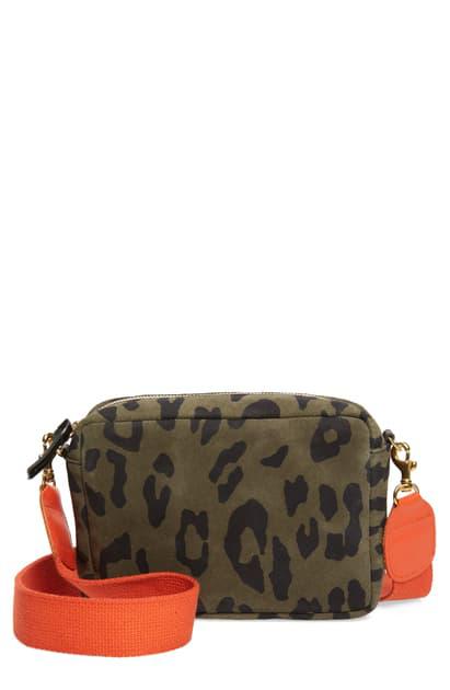 Clare V Midi Leopard Print Leather Shoulder Bag In Army Pablo Cat