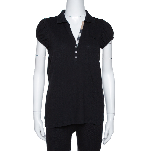 Burberry Brit Black Cotton Puff Sleeve Polo T-shirt L