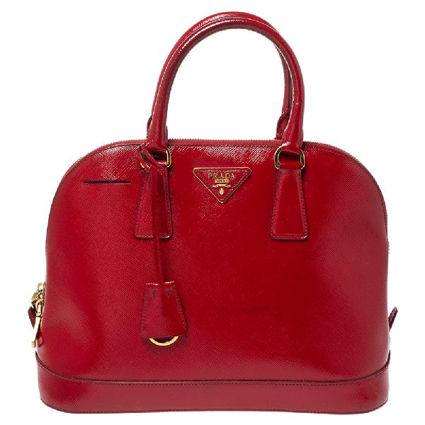 Prada Red Saffiano Patent Leather Promenade Satchel
