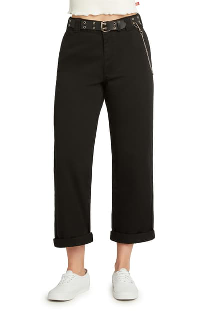 Dickies Belted High Waist Roll Cuff Crop Pants In Black