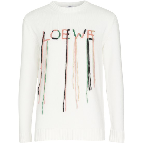 Loewe Loose-stitch Logo-embroidered Cotton-blend Sweater In White